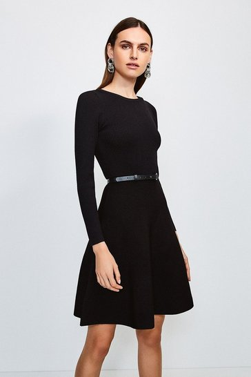 Black Knitted Crew Neck Skater Dress