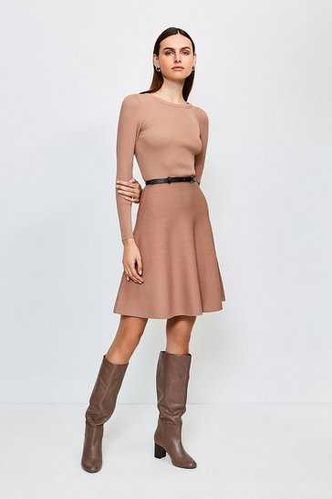 Brown Knitted Crew Neck Skater Dress