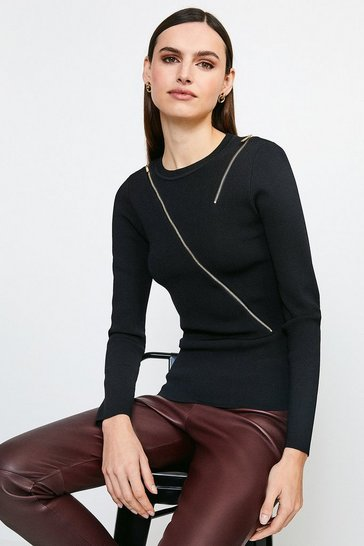 Black Zip Detail Knitted Jumper