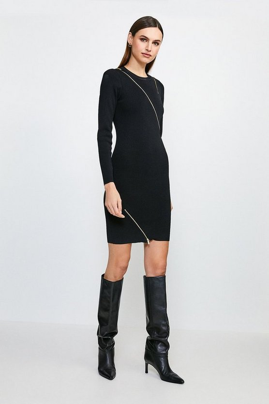 Black Zip Detail Knitted Rib Tunic