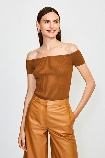Cashew Knitted Rib Bardot Top