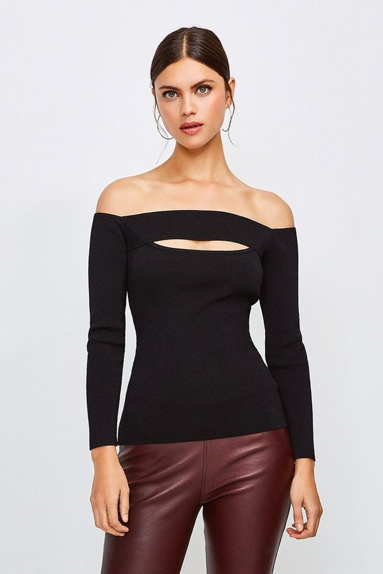 Brown Knitted Rib Bardot Peep Hole Top