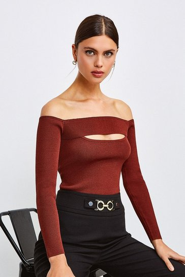 Burgundy Knitted Rib Bardot Peep Hole Top