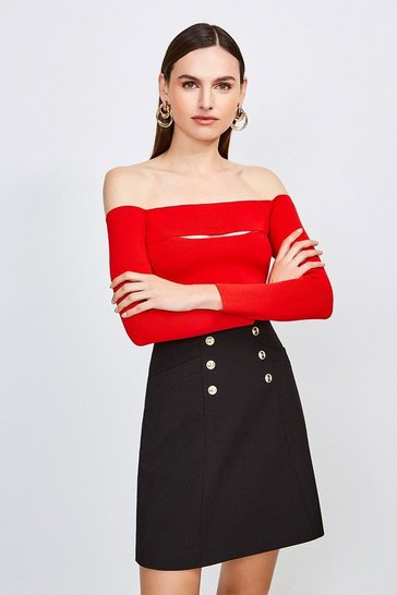 Red Knitted Rib Bardot Peep Hole Top