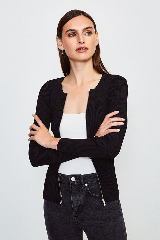 Black Knitted Rib Zip Though Cardigan