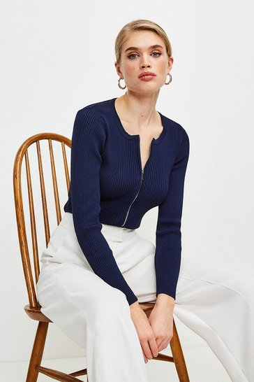 Navy Knitted Rib Zip Though Cardigan