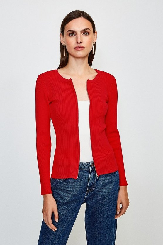 Red Knitted Rib Zip Though Cardigan