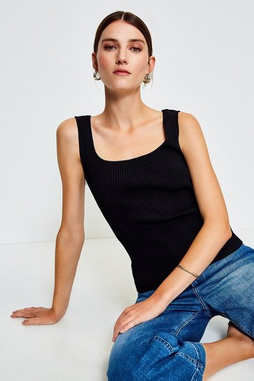 Black Knitted Rib Square Neck Vest Top