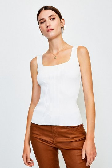 Ivory Knitted Rib Square Neck Vest Top