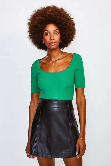 Green Knitted Rib Scoop Neck Top