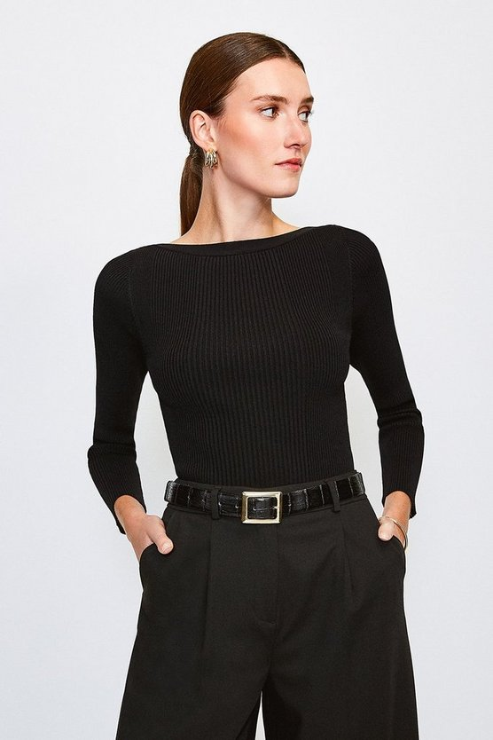 Black Knitted Rib Slash Neck Top