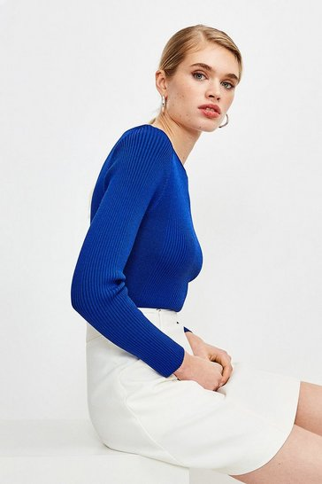 Cobalt Knitted Rib Slash Neck Top