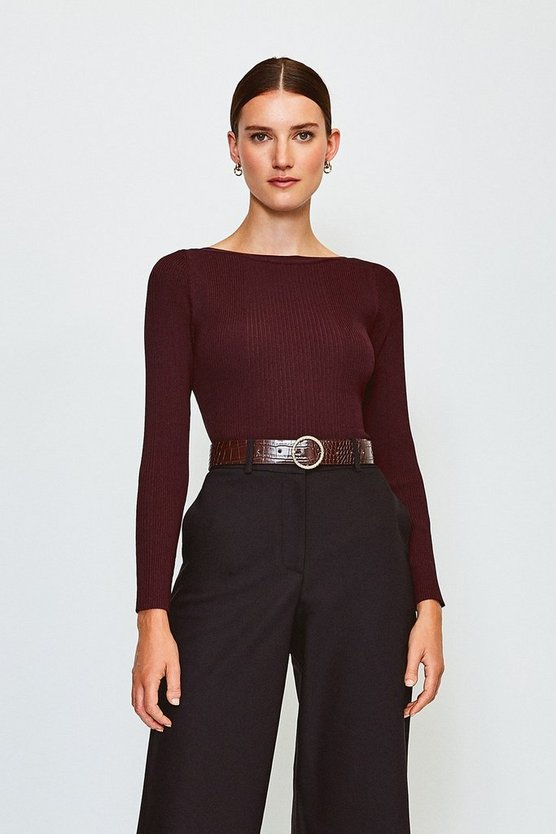 Fig Knitted Rib Slash Neck Top