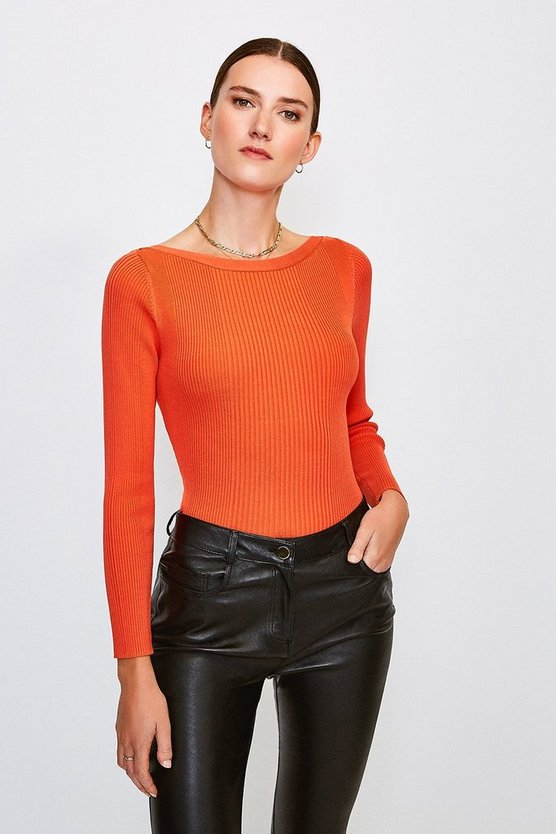 Peach Knitted Rib Slash Neck Top