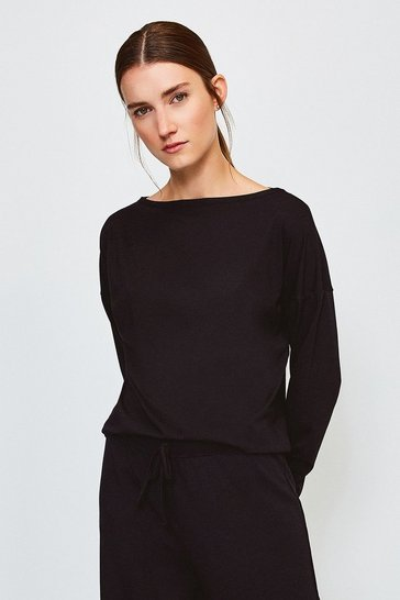 Black Lounge Viscose Batwing Long Sleeve Top