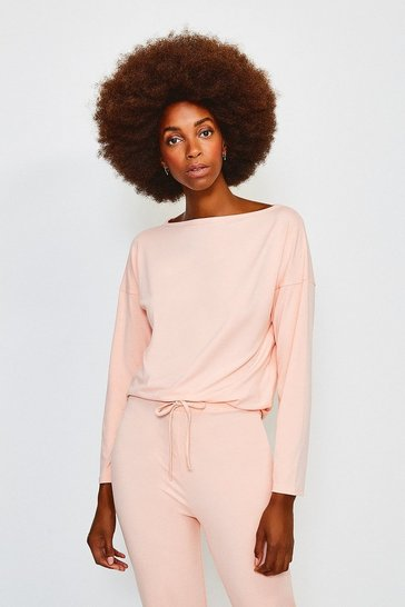 Peach Lounge Viscose Batwing Long Sleeve Top