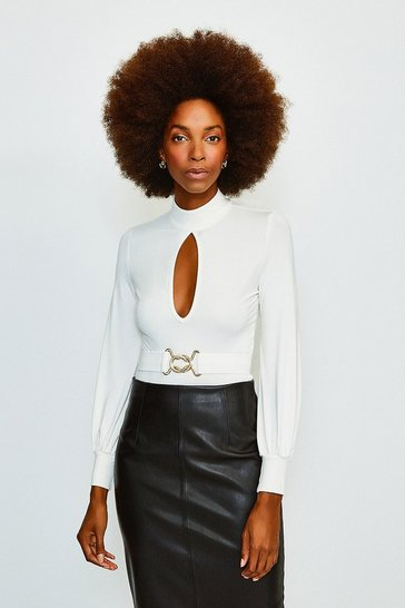 Ivory Belted Volume Sleeve Jersey Body