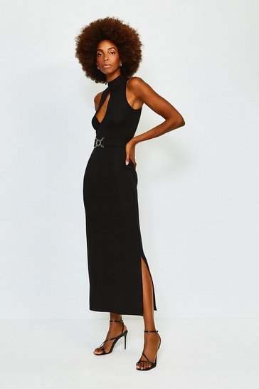 Black Belted Maxi Jersey Dress