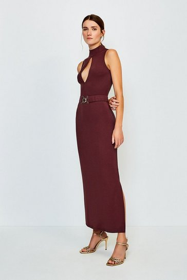 Fig Belted Maxi Jersey Dress