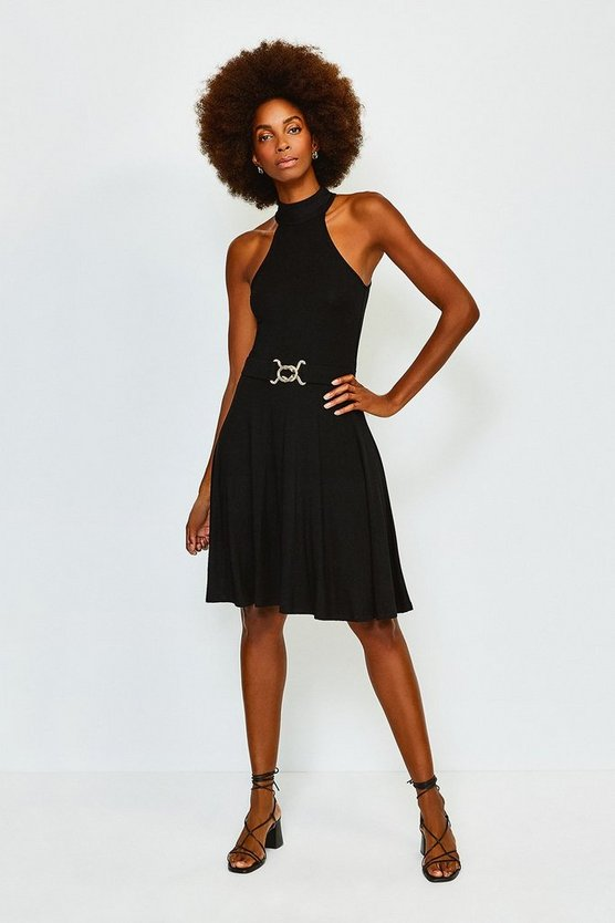 Black Belted Jersey Funnel Neck Dress
