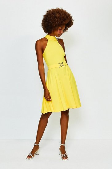Marigold Belted Jersey Funnel Neck Dress