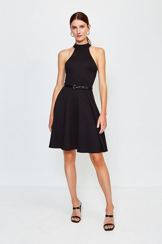 Black High Neck Belted Ponte Dress