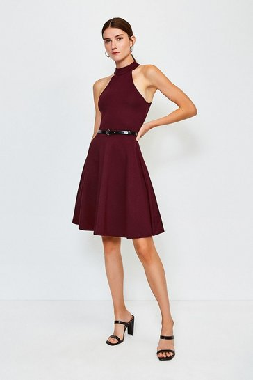 Fig High Neck Belted Ponte Dress