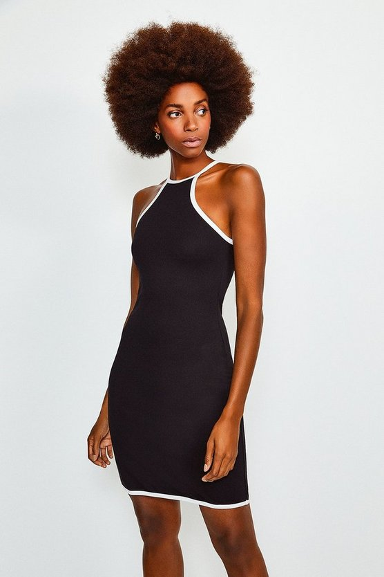 Black Tipped Racer Neck Ponte Dress