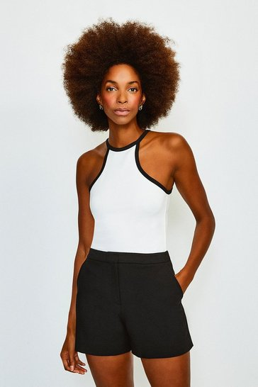 Ivory Tipped Racer Neck Ponte Top