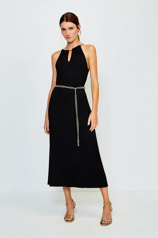 Black Chain Neck Jersey Dress