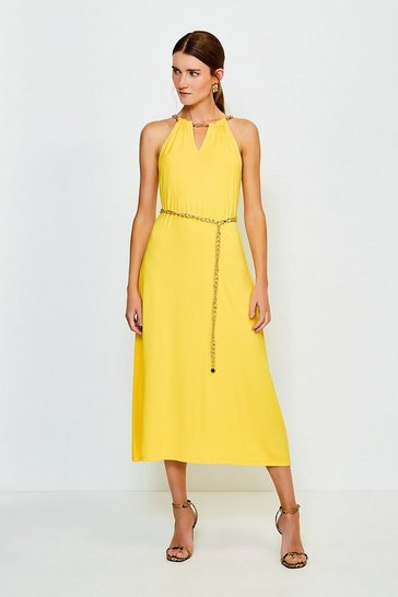 Marigold Chain Neck Jersey Dress