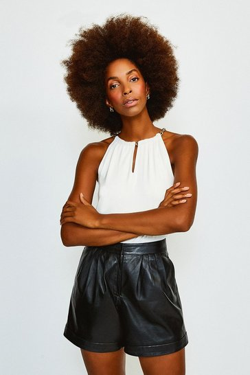 Ivory Chain Neck Jersey Top