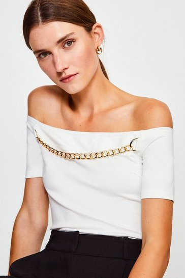 Ivory Chain Detail Bardot Top