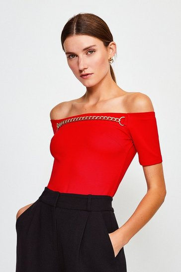 Red Chain Detail Bardot Top