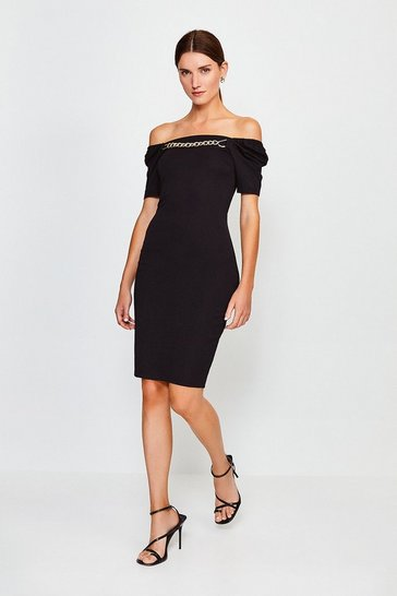 Black Chain Detail Bardot Dress