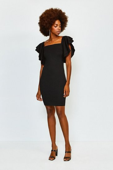 Black Square Neck Frill Sleeve Dress