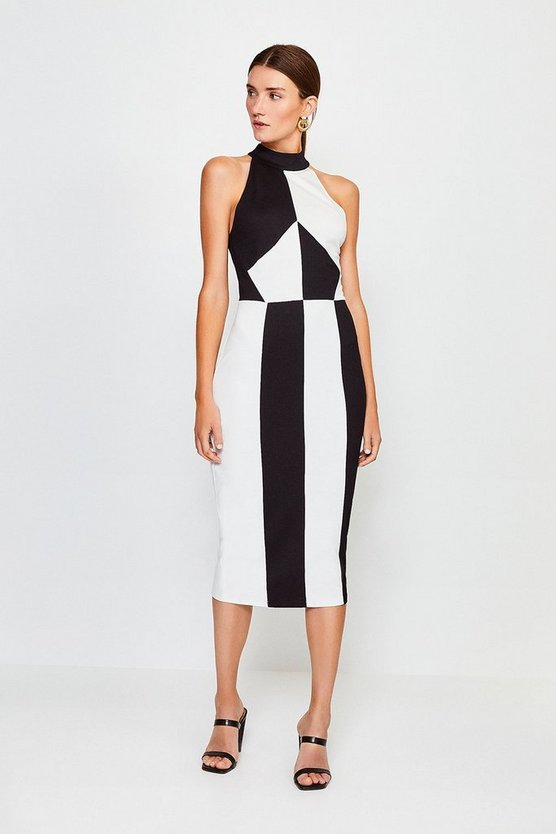 Blackwhite High Neck Colourblock Ponte Dress