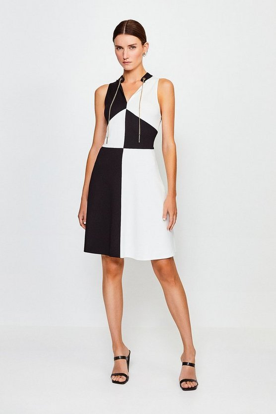 Blackwhite Chain Neck Colour Block Ponte Dress