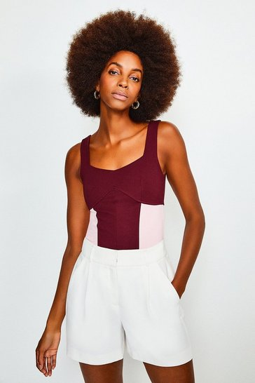 Fig Colour Block Ponte Top