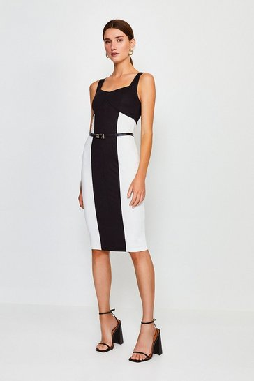 Black Belted Colourblock Ponte Dress