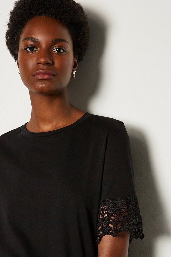 Black Jersey Cotton Broidery Sleeve TShirt