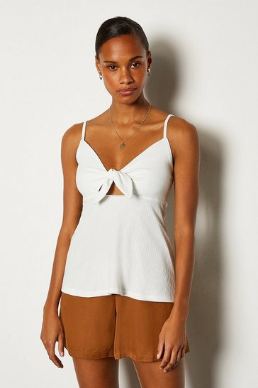 Ivory Tie Front Cami
