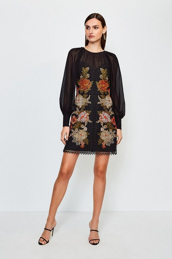 Black Cutwork Lace Volume Sleeve Dress