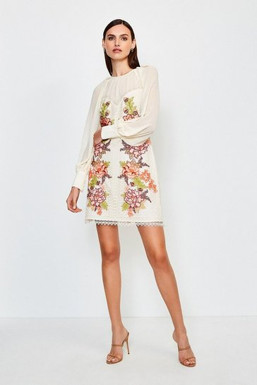 Ivory Cutwork Lace Volume Sleeve Dress