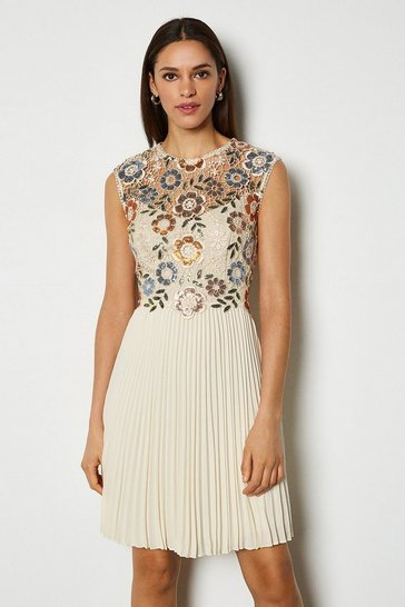 Cream Sequin And Lace Detail Short Dress