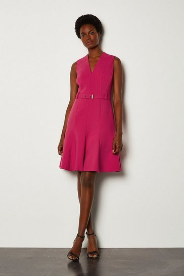 Pink Sleeveless Belted Flippy Hem Dress