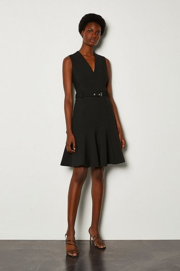 Black Sleeveless Belted Flippy Hem Dress