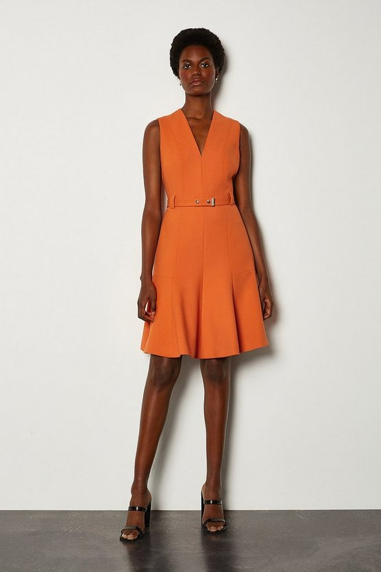 Orange Sleeveless Belted Flippy Hem Dress