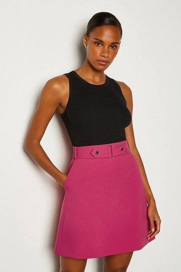 Pink Cinch Waist A-Line Skirt