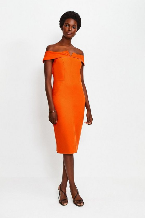 Orange Forever Bardot Pencil Dress